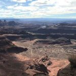 View to the south from Dead Horse Point State Park. Views of the Colorado River, the White Rim Trail.