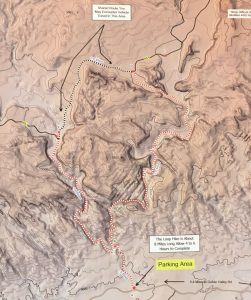 Map of Little Wildhorse Canyon, the Connector, and Bell Canyon at the Trailhead