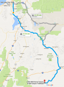 According to Google Maps, it is a 3-4 hour drive from Salt Lake City to Little Wildhorse Canyon