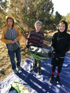 Happy Scouts Camping at Five Mile Pass in March