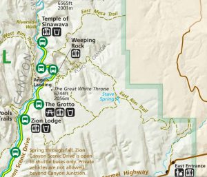 Observation Point Trail Options - Map from: https://www.nps.gov/zion/planyourvisit/maps.htm